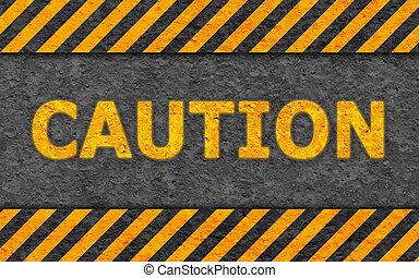 grunge, testo, (caution), avvertimento, nero, modello, arancia
