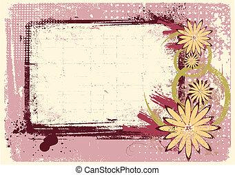 grunge, testo, decorazione, vettore, fondo, floreale, .pink
