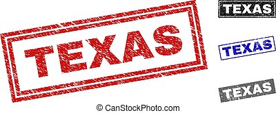 Grunge TEXAS Textured Rectangle Stamps