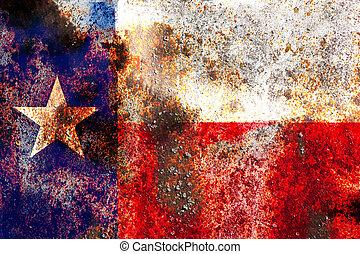 Grunge Texas USA flag on rusty metal background
