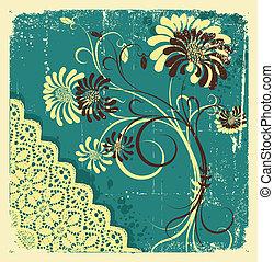 grunge, text., fond, floral, vecteur, décoration