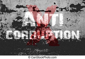 grunge, text, hintergrund, anti, korruption