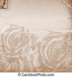 grunge, text, raum, textured, hintergrund, rosen