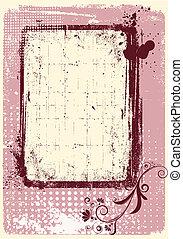 grunge, texte, décoration, vecteur, fond, .pink