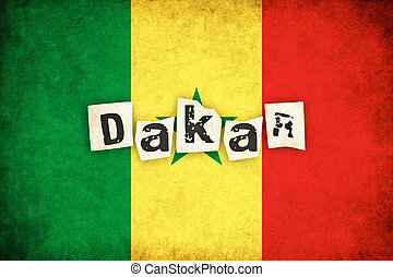grunge, texte, sénégal, illustration, drapeau, africaine, pays