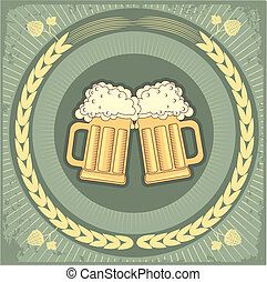 grunge, texto, ilustración, cerveza, vector, fondo.