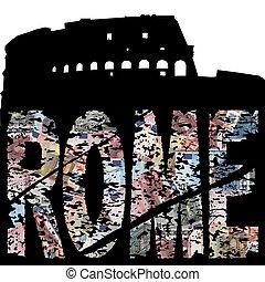 grunge, texto, ilustración, roma, colloseum, euro