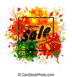 grunge, texto, pretas, venda, grande, elements., multicolor, blots, experiência., quadro, mão, desenhado, outono