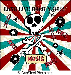 Grunge texture background , text long live rock n roll. Skull and bones. World rock n roll day vector illustration.