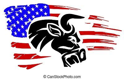 Grunge texture of bull head or cow with usa flag.
