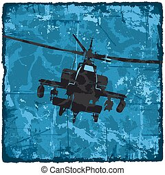 Grunge texture vintage background with helicopter.