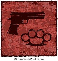 Grunge texture vintage background with gun.