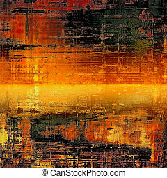 Grunge texture with decorative elements and different color patterns: yellow (beige); brown; black; red (orange)