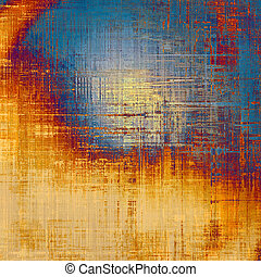 Grunge texture with decorative elements and different color patterns: yellow (beige); brown; blue; red (orange); gray
