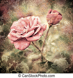 Grunge texture with floral background in vintage style