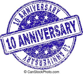 Grunge Textured 10 ANNIVERSARY Stamp Seal
