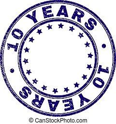 Grunge Textured 10 YEARS Round Stamp Seal