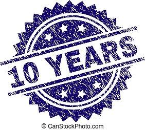 Grunge Textured 10 YEARS Stamp Seal