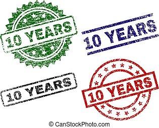 Grunge Textured 10 YEARS Stamp Seals