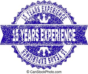 Grunge Textured 15 YEARS EXPERIENCE Stamp Seal with Ribbon