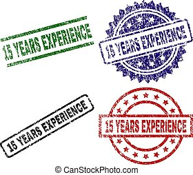 Grunge Textured 15 YEARS EXPERIENCE Stamp Seals