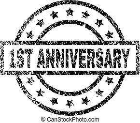 Grunge Textured 1ST ANNIVERSARY Stamp Seal