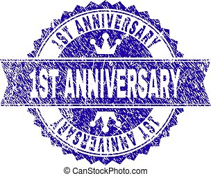 Grunge Textured 1ST ANNIVERSARY Stamp Seal with Ribbon