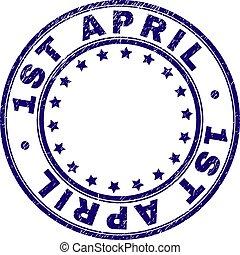 Grunge Textured 1ST APRIL Round Stamp Seal