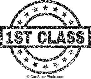 Grunge Textured 1ST CLASS Stamp Seal