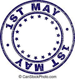 Grunge Textured 1ST MAY Round Stamp Seal