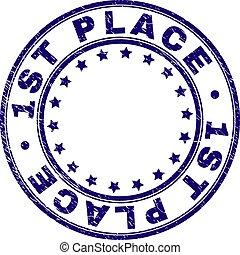 Grunge Textured 1ST PLACE Round Stamp Seal