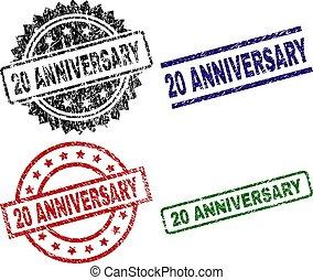 Grunge Textured 20 ANNIVERSARY Stamp Seals