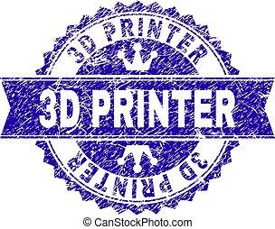 Grunge Textured 3D PRINTER Stamp Seal with Ribbon