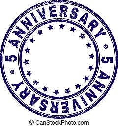 Grunge Textured 5 ANNIVERSARY Round Stamp Seal