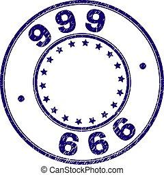 Grunge Textured 999 Round Stamp Seal - 999 stamp seal...