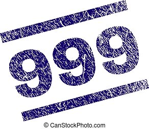 Grunge Textured 999 Stamp Seal - 999 seal imprint with...