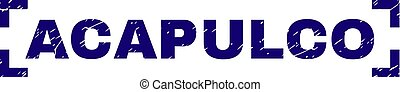 Grunge Textured ACAPULCO Stamp Seal Between Corners -...