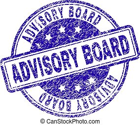 ADVISORY BOARD stamp seal imprint with distress texture. Designed with rounded rectangles and circles. Blue vector rubber print of ADVISORY BOARD text with grunge texture.