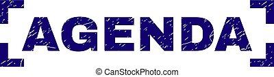 Grunge Textured AGENDA Stamp Seal Inside Corners