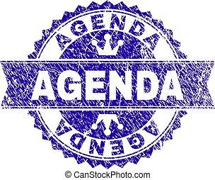 Grunge Textured AGENDA Stamp Seal with Ribbon