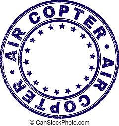 Grunge Textured AIR COPTER Round Stamp Seal