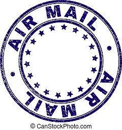 Grunge Textured AIR MAIL Round Stamp Seal