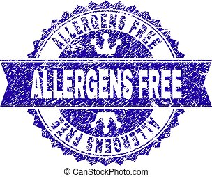 Grunge Textured ALLERGENS FREE Stamp Seal with Ribbon