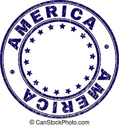 Grunge Textured AMERICA Round Stamp Seal
