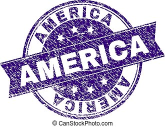 Grunge Textured AMERICA Stamp Seal