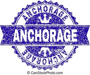 Grunge Textured ANCHORAGE Stamp Seal with Ribbon - ANCHORAGE...