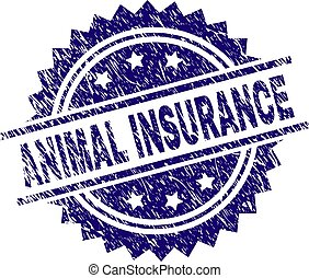 Grunge Textured ANIMAL INSURANCE Stamp Seal