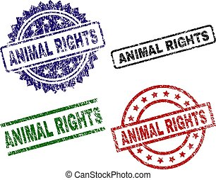 Grunge Textured ANIMAL RIGHTS Stamp Seals - ANIMAL RIGHTS...