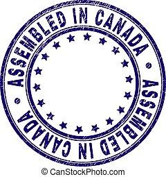 Grunge Textured ASSEMBLED IN CANADA Round Stamp Seal