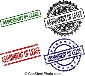 Grunge Textured ASSIGNMENT OF LEASE Seal Stamps